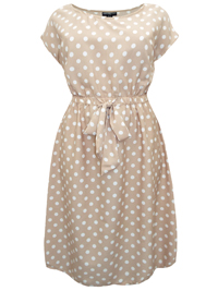 eaonplus Beige Stone Polka-Dot Cap Sleeve Tea Dress - Plus Size 18/20 to 30/32