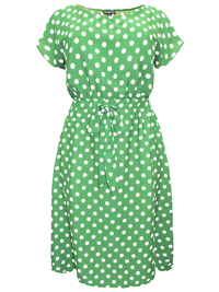 eaonplus Jade Green Polka-Dot Cap Sleeve Tea Dress - Plus Size 18/20 to 30/32