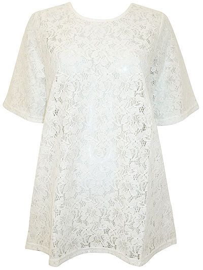 Cream All Over Lace Short Sleeve A-Line Top - XS to Large UK Size 10 to 16