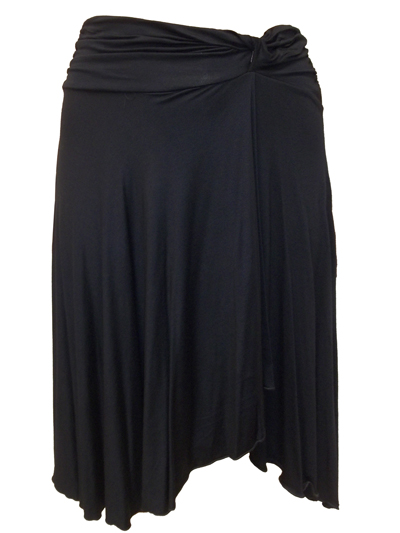 BLACK Ruched Side Tab Wide Waistband Mock Wrap Skirt - Size 10 to 18