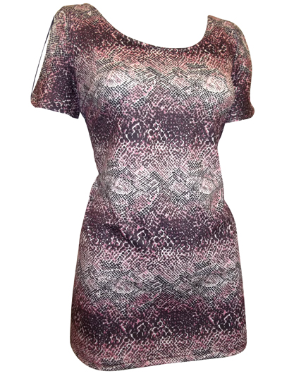 Black Mix Cut Out Shoulder Snake Print Top - Size 12/14 to 20/22