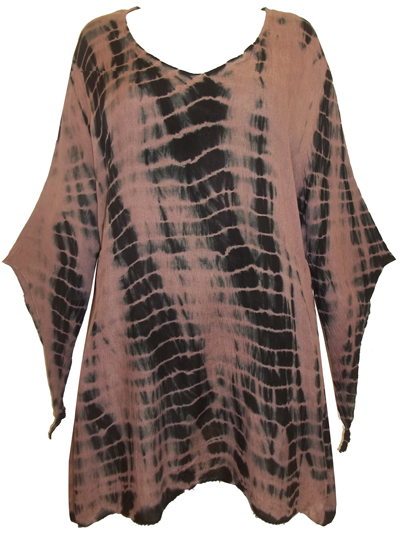eaonplus FawnBlack TieDye Crinkle Viscose Elvira Tunic Top - Size 18/20 to 30/32