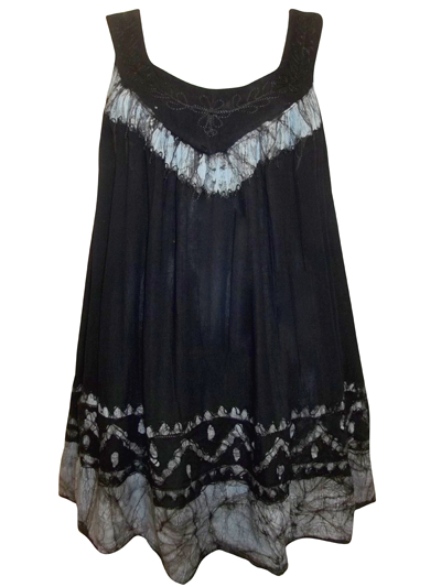eaonplus Black/Grey Tie-Dye Embroidered Batik Print Tunic - Plus Size 14 to 34