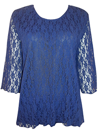 Eaonplus BLUE Overlaid Lace 3/4 Sleeve Top - Plus Size 18 to 32