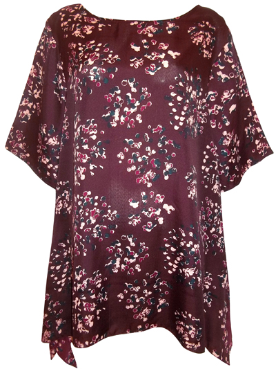 eaonplus Burgundy Cluster Print Waterfall Kaftan Tunic - Size 18/20 to 30/32