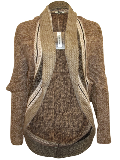 Nina Murati - - BROWN Ethnic Knitted Cocoon Cardigan with Wool ...