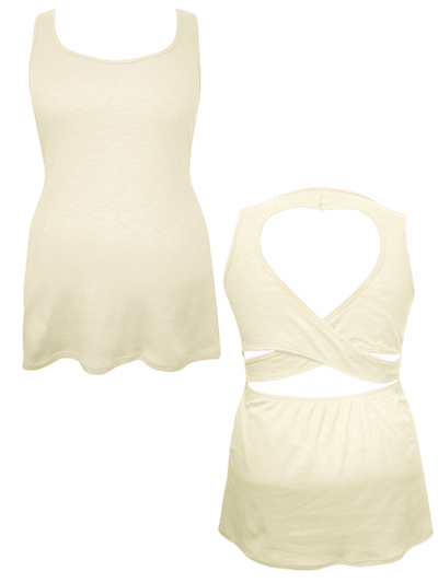 **CLEARANCE** IVORY Sleeveless Cut Out Ribbed Vest - Plus Size 16/18 to 20/22 (1XL to 3XL)