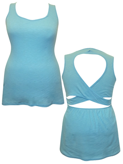 **CLEARANCE** TURQUOISE Sleeveless Cut Out Ribbed Vest - Plus  Size 16/18 to 20/22 (1XL to 3XL)