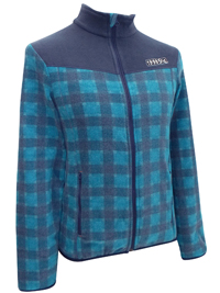 Mens BICO Blue Checked Fleece Funnel Neck Jacket - Size Large to XXLarge