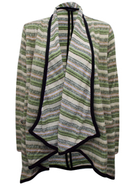 The Collection GREEN Horizontal Stripe Knitted Open Front Cardigan - Size 8 to 18