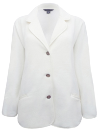 Lands3nd IVORY Soft Fleece Triple Button Blazer Jacket - Size 22/24 to 26/28 (2X to 3X)