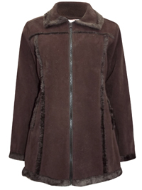 3SUISSES BROWN Faux Fur Seamed Collared Jacket - Size 10/12 to 18/20 (FR 38/40 to 46/48)
