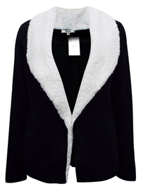 BLACK Fleece Shawl Collar Open Front Jacket - Size 12 to 18 (Small to XLarge)
