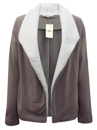 MOCHA Fleece Shawl Collar Open Front Jacket - Size 12 to 18 (Small to XLarge)