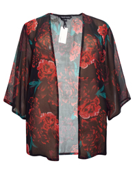 Capsule BLACK Floral Printed Kimono Cover-Up - Size 10 to 32