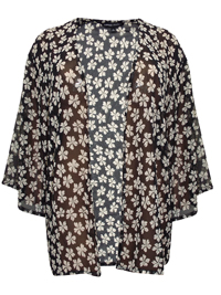 Capsule BLACK Floral Print Kimono Cover-Up - Plus Size 14 to 30