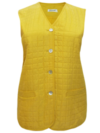 Giacosa YELLOW Pure SILK Quilted Button Through Gilet Jacket - Plus Size 18 to 22