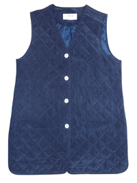 CarmenG BLUE Pure Silk Quilted Button Through Gilet Jacket - Size 10 to 12