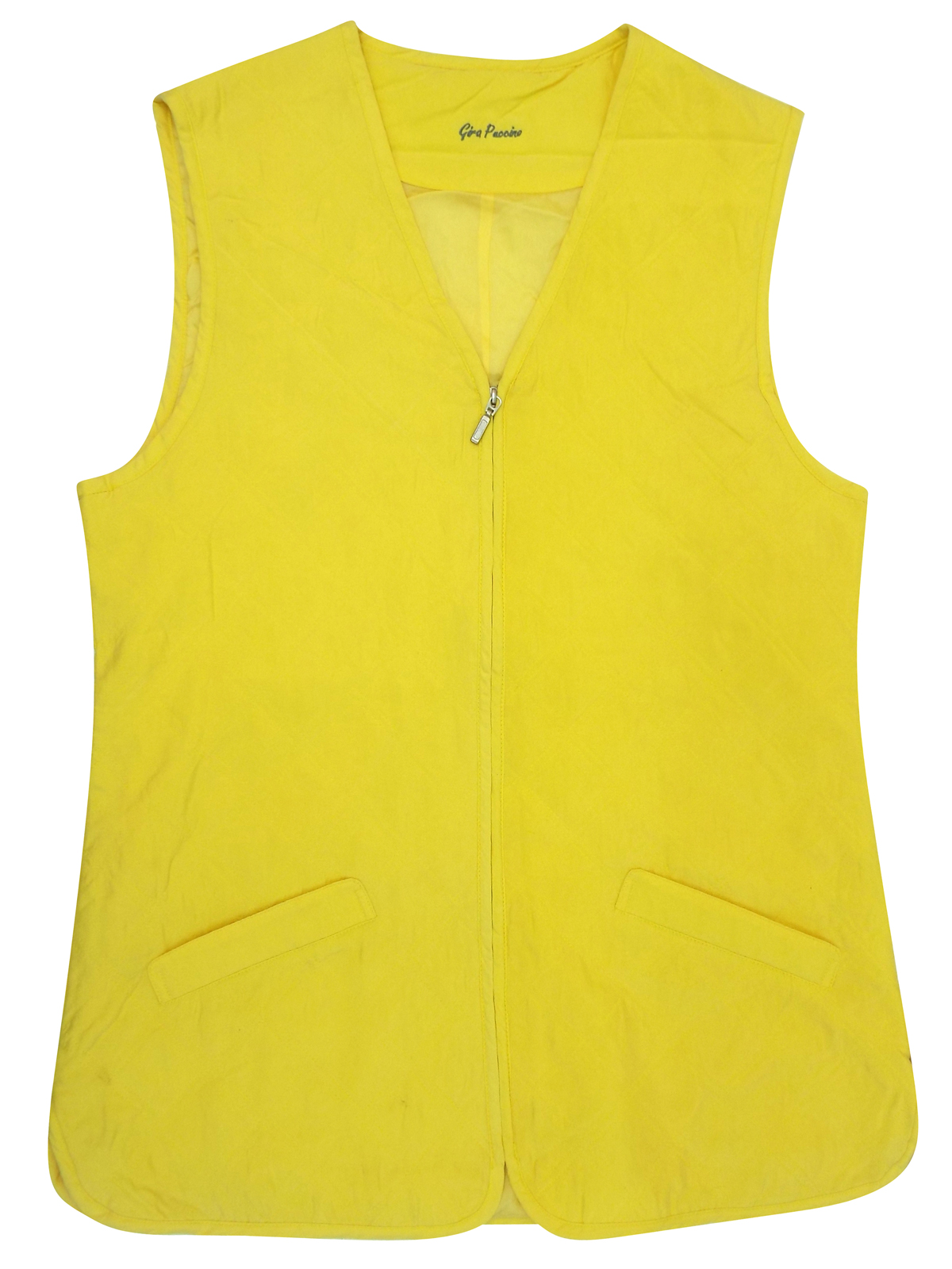 Gira Paccino YELLOW Pure Silk Sleeveless Zip Through Gilet Jacket - Size 14 to 18