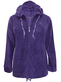 Y0URS Purple Clear Heart Embellished Hooded Fleece Jacket - Plus Size 16 to 30/32