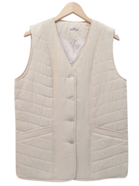 Lotos SAND Pure Silk Quilted Button Through Gilet Jacket - Plus Size 14