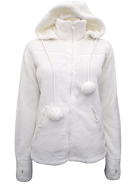 Influx ECRU Fluffy Pom Pom Hooded Jacket - Size 8/10 to 24/26