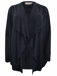 First Avenue CHARCOAL Open Front Suedette Waterfall Jacket - Size 10 to 20
