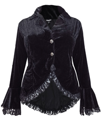 eaonplus BLACK Velvet Lace-Up Gothic Bell Sleeve Jacket - Plus Size 18/20 to 30/32