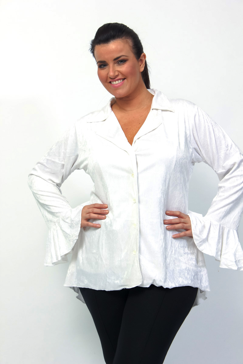 eaonplus WHITE Gothic Velvet Dipped Back Ruffle Sleeve Shirt Jacket - Plus Size 18/20 to 34/36