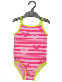 M0thercare PINK Girls Butterfly Stripe Print Swimsuit - Age 1.5/2yrs to 9/10yrs