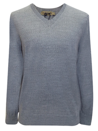 Mens GREY Merino Wool V-Neck Fine Knit Jumper - Size Small to XXLarge