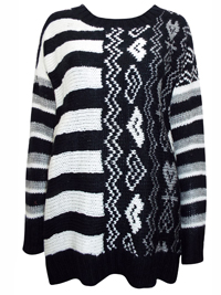 Nina Murati BLACK Oversize Striped Cable Knit Jumper with Wool - Size 12/14 to 20/22 (Small to Large)