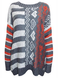 Nina Murati GREY Oversize Striped Cable Knit Jumper with Wool - Size 12/14 to 20/22 (Small to Large)