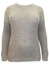 Plus TAUPE Round Neck Cable Knit Jumper - Plus Size 22/24 to 30/34 (EU 48/50 to 56/58)