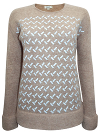 BEIGE Geo Studded Long Sleeve Jumper - Size Small to XLarge