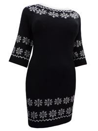 Angel Ribbons BLACK Snowflake Border Knitted Jumper Dress - Plus Size 12/14 to 32/34