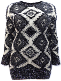 Y0urs BLACK Metallic Eyelash Knit Jumper - Plus Size 18 to 30/32