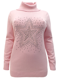 BPC Selection PINK Roll Neck Star Embellished Knitted Jumper - Size 10/12 to 30/32