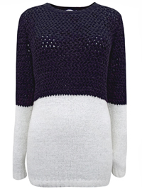 BPC Black/White Color Block Long Sleeve Knitted Jumper - Size 10/12 to 30/32 (36/38 to 56/58)