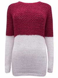 BPC Cherry/Pink Color Block Long Sleeve Knitted Jumper - Size 10/12 to 30/32 (36/38 to 56/58)