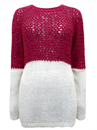BPC Selection Cherry/Cream Color Block Long Sleeve Knitted Jumper - Size 10/12 to 30/32 (36/38 to 56/58)