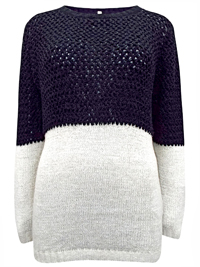BPC Collections Black/Cream Color Block Long Sleeve Knitted Jumper - Plus Size 14/16 to 30/32 (40/42 to 56/58)