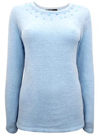 BPC Selection ICE BLUE Embellished Scoop Neck Chenille Jumper - Size 10/12 to 30/32