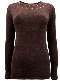 BPC Selection BROWN Embellished Scoop Neck Chenille Jumper - Size 10/12 to 30/32