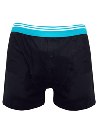 Mens Black/Light Blue Pure Cotton Contrast Waist Button Fly Boxers - Size Small to XXLarge