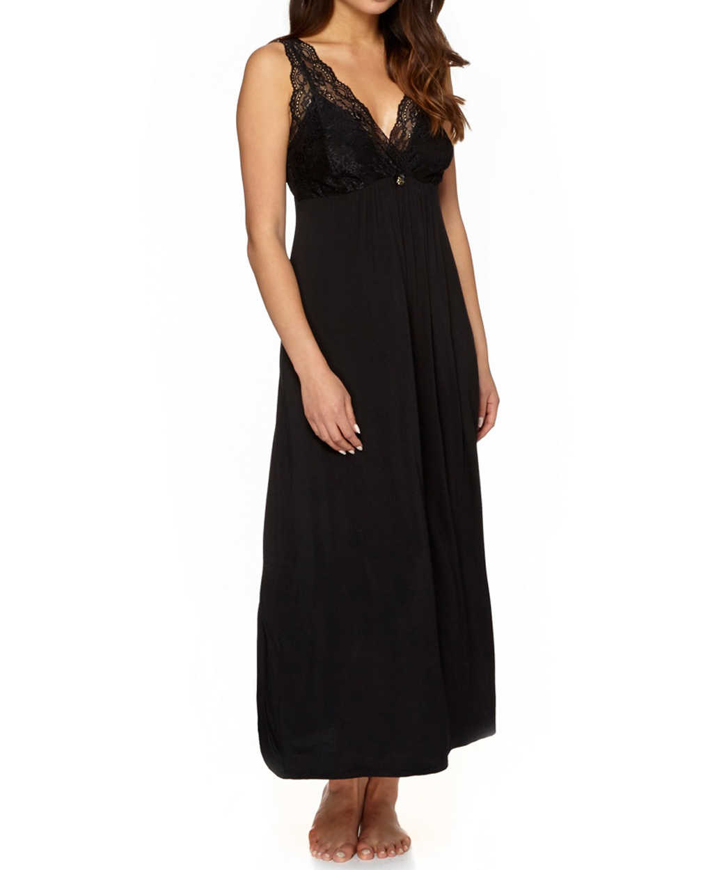 b9498953d Debenhams - - D3benhams BLACK Delicate Lace Long Nightdress - Size 8 ...