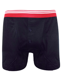 Mens Black/Red Pure Cotton Contrast Waist Button Fly Boxers - Size Small to XXLarge