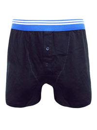 Mens Black/Blue Pure Cotton Contrast Waist Button Fly Boxers - Size Small to XXLarge