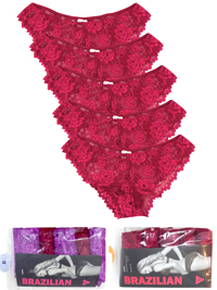GE0RGE CHERRY 5-Pack Floral Lace Brazilian Knickers - Size 6 to 12