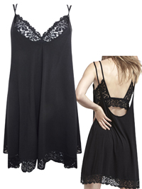 Oysho BLACK Floral Lace Bralet Chemise with Modal - Size Small to Large